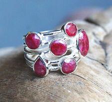 Handarbeit Ring Silber 55 56 57 58 59 Silberring Modern Rubin Facette Rubinrot
