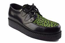Tierra De Acero Zapatos Negro Cuero Cal leopardo pelo Creepers Suela Baja Anillo en D