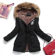 cappotto donna parka cappuccio pelliccia women coat hooded jacket winter M L XL