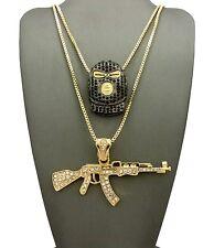 "Iced Out Goon Ski Mask Man, Gun Pendant 24"", 30"" Box Chain Hip Hop Necklace Set"