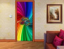 Rainbow Lion Door Wrap Decal Wall Sticker Mural Home Decor D190