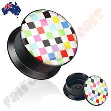 Multi Color Checker Pattern Screw Fit Black Acrylic Plug