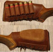 Real Leather Shotgun Shell Cartridge Buttstock Holder -Holds 6 shells 12 & 20 ga