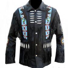 Mens Real Leather Wear Western Cowboy Style Fringe Bones & Beads Coat Jacket