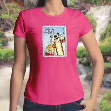 Calvin & Hobbes Photobomb Stamp Funny Cool Juniors Womens Tee Crew Neck T-Shirt