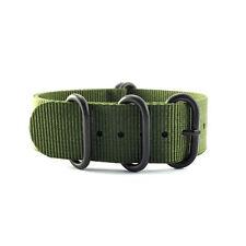5-Ring Army Green Nylon Military ZULU Watch Strap (Black 20mm, 22mm)
