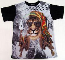Reggae Rasta Lion Sublimation T-shirt Marijuana Urban Hip Hop Adult Men  New