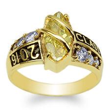 JamesJenny 10K Yellow Gold Marquise Citrine CZ 2016 Graduation Ring Size 4-9