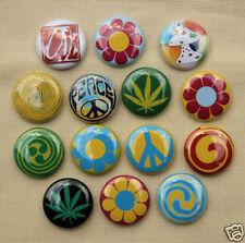 "14 PSYCHADELIC HIPPIE PEACE Buttons Pinbacks Badges 1"" Set"