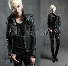 Mens Studded Spike Leather Coat motorcycle Biker Slim Jacket Parka Punk Outwear