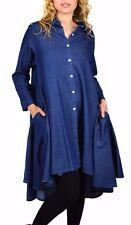 Denim, Boho, Country, Western all Cotton Designer Hi Lo Denim Plus Size Shirt.