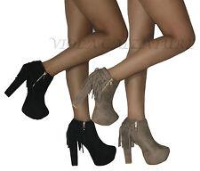 zapatos Botas de mujer botas Botines bajos con flecos plataforma nuevo 143