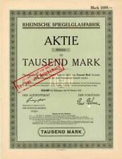 Rheinische SPIEGELGLASFABRIK AG Ratingen histor. Aktie 1922 Eckamp Saint Gobain