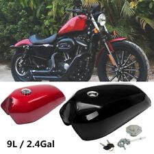 9L/2.4 Gallon Motorcycle Bike Cafe Racer Vintage Fuel Gas Tank &Cap Switch Steel