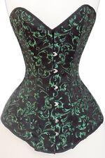 Verde Negro Brocade corsé de acero huesos completo del busto Con cordones Sweetheart 2XS ~ 7XL