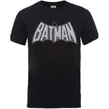 Oficial DC Comics Batman Logotipo Craquelado Retro Unisex T-Shirt (nuevo)