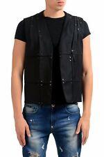 Maison Margiela 10 Men's 100% Wool Black Beads Decorated Buttonless Vest Sz XS S