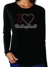 I Heart Volleyball Love Rhinestone Women's Long Sleeve Shirts Sports