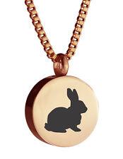 Rose Gold Round Rabbit Urn Pendant Necklace Memorial Ash Keepsake Cremation
