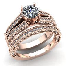 Real 2carat Round Diamond Ladies Bridal Set Solitaire Engagement Ring 10K Gold