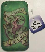 New iPhone 3G 3Gs TPU gel case cover skin big snake phone apple green biker cool