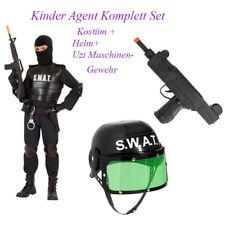 POLIZEI KOSTÜM KINDER Karneval SWAT Agent Polizist Helm Maschinen Gewehr Po13