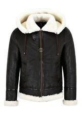 Men Sheepskin Hooded Jacket White Real Shearling Fur B3 Bomber Pilot Jacket NV65