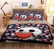 3D Flower Cat 89 Bed Pillowcases Quilt Duvet Cover Set Single Queen King CA
