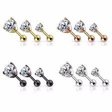 New Steel Rose Gold Plated Black CZ Gem Tragus Cartilage Bar Earring Stud 16g