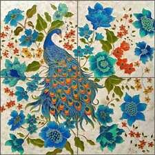 Peacock Tile Backsplash Micheline Hadjis Bird  Art Ceramic Mural MHA038