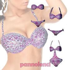 Bikini monokini costume donna mare viola lilla argento pitonato swimwear B1522