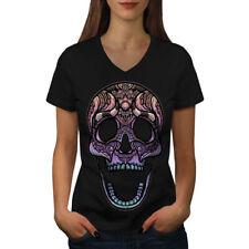 Sugar Skull Women V-Neck T-shirt NEW | Wellcoda