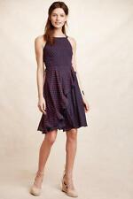 NEW Anthropologie Ruffled Clipdot Dress by Eva Franco, Navy/Red, Size 6