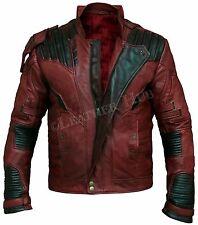Guardianes de la galaxia 2 Star Lord Chris Pratt Marrón Chaqueta De Cuero Real