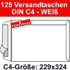 125 Versandtaschen ohne Fenster, DIN C4, Haftklebung, Weiß, 90g, Briefumschläge