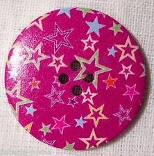 40/015 - BOUTON BOIS VERNIS étoile rouge ** 40 mm 4 cm ** Lot au choix X1 X2 X3