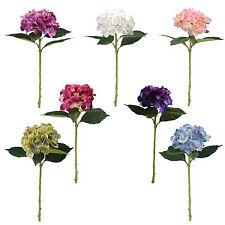 Artificial silk large hydrangea flowers 1 single stem various colours