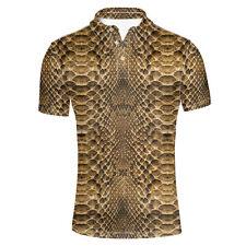 Cool Snakeskin Print Men Summer Shirts Top Wear Male Office Polo Shirts Shorts