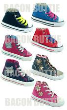 Boys Girls Kids Childrens Hi Top Casual Canvas Shoes Trainers Plimsolls Pumps