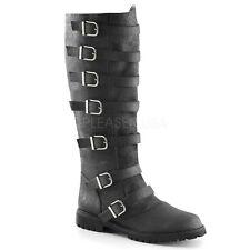 "Funtasma 1.5"" Heel Distressed Black Multi Buckle Knee Boots Cosplay Mens 8-14"