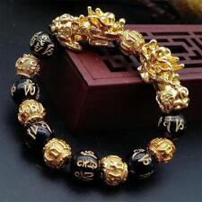 14mm brave troops Bracelet Feng Shui Obsidian Alloy Barrel Beaded Gold Bracelet