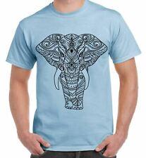Tribal Indian Elephant Tattoo Large Print Men's T-Shirt - Elephants India