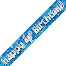 Azul Happy 4º Cumpleaños METALIZADO Letrero De Fiesta Decoración Estrellas