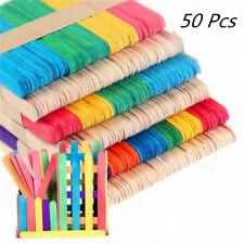 50pcs Jumbo Art Wooden Paddle Pop Craft Sticks 100% Natural Wood Kids Craft AY