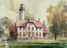 Grosse Point Lighthouse Lake Michigan Evanston Illinois Watercolor Art Prints