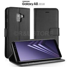 COVER per Samsung A8 2018 CUSTODIA PORTAFOGLIO in PELLE LEATHER CASE SLIM Nero