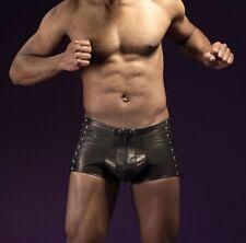M-3XL Faux Leather Shorts Male Lingerie Men Erotic Fetish Wear Bandage Pants