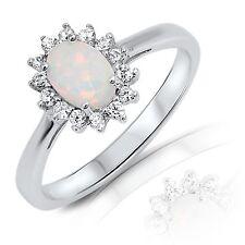 Bianco Opale di Fuoco Taglio Ovale Sole Design Bianco Zaffiro Anello Argento