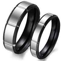 Titanium Steel Promise Wedding Bands minimalist silver&Black gift Couple Rings