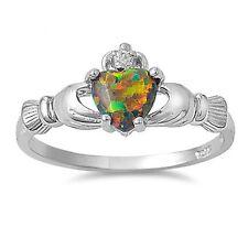 Fire Lab Opal Claddagh Ring CZ - 925 Sterling Silver - Irish Celtic Heart NEW